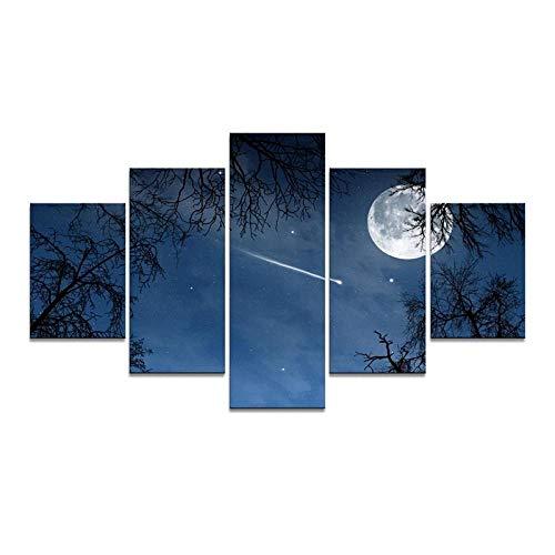 YOUQIANREN Lienzo de Pintura Abstracta Wall Art Framework 5 Piezas Luna en la Vía Láctea Cuadros Decorativos modulares para Sala de Estar Impresiones-XXL-150CMx80CM
