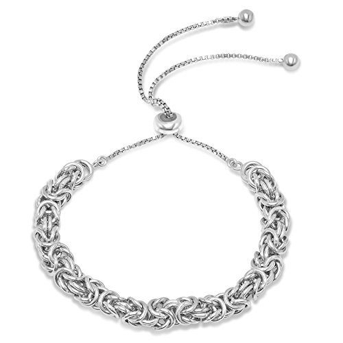 Sterling Silver Byzantine Adjustable Bolo Bracelet