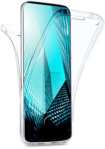moex Double Hülle für Samsung Galaxy S10 Hülle Silikon Transparent, 360 Grad Full Body R&um-Schutz, Komplett Schutzhülle beidseitig, Handyhülle vorne & hinten - Klar