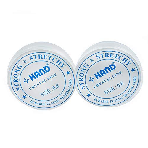 HAND Premium Force Rouleau de perles Artisanat Cristal Clair Extensible Filet / Fil 0.6 mm Épaisseur, Paquet de 2 Rouleaux