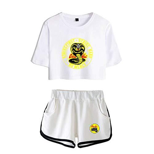 JDSWAN Mujeres Cobra Kai 2 Piezas Conjunto de Chándal Manga Corta Cobra Impreso Camiseta Crop Tops + Pantalones Cortos Deportivos Trajes de Chándal Completo Pijama Verano
