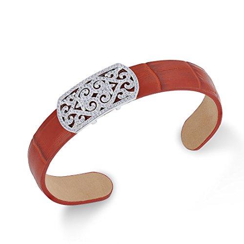 Santuzza - Pulsera de Cuero y Plata para Mujer y Hombre CZStones Color Rojo