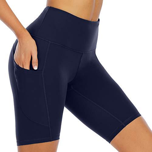 WWWNNUUUX Frauen Baumwollgamaschen 1/2 Länge Overknee-Shorts, Seiten Pockethigh Taille Yoga-Hosen Bauch-Steuer Abnehmen Stretch Aktiv Sport Tights,Blau,XL