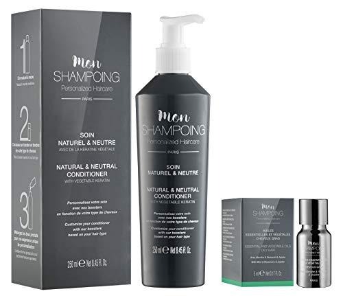 Mon Shampoing - Duo Après Shampoing Naturel - Cheveux Gras - Sans Paraben/Sans Silicone - Huiles Essentielles & Végétales Menthe, Romarin, Jojoba - convient pour Lissage/Extension. 250ml + 5ml