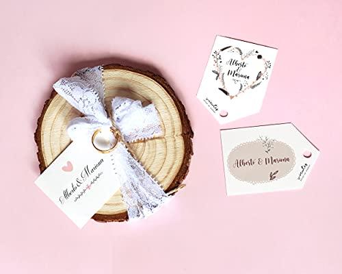 Porta alianzas de madera con tarjeta personalizable // 3 diseños diferentes de tarjeta