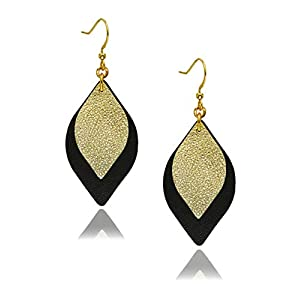 missaqua Leather Earrings Layered Metallic Genuine Leather Leaf Dangle Drop Earrings for Women
