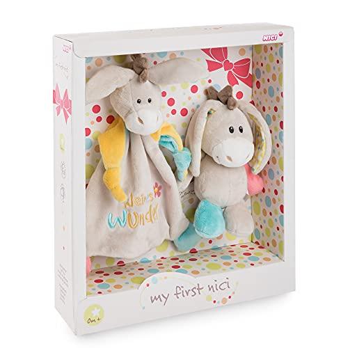 NICI Geschenkset für Babys & Kleinkinder – Schmusetuch & Schmusetier Esel Muli 18cm Kleines Wunder in toller Geschenkbox (25x25 cm) Baby Geschenke ab 0+ Monaten – Kuscheltier und Kuscheltuch