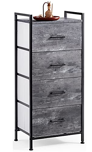 4 Drawer Dresser Wide Chest of Drawers Nightstand with Wood Top Rustic Storage Tower Storage Dresser Closet for Living Room, Bedroom, Hallway, Nursery, Kid