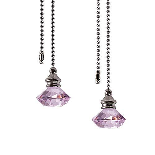 Glaskristall Diamantform Lichterkordel Zuggriff Deckenfenster Sonnenfänger mit 30,5 cm Kugelkette rose
