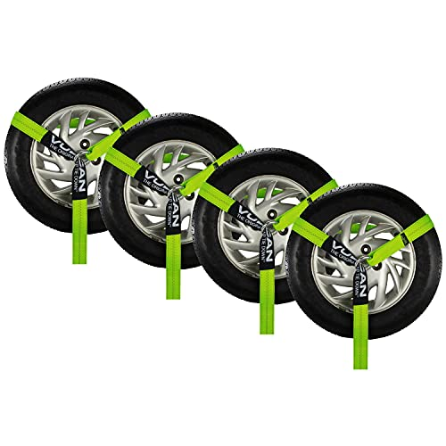 VULCAN Wheel Dolly Tire Harness with Universal O-Ring - 2 Inch x 96 Inch, 4 Pack - High-Viz - 3,300 Pound Safe Working Load - Straps Only, Ratchets Sold Separately