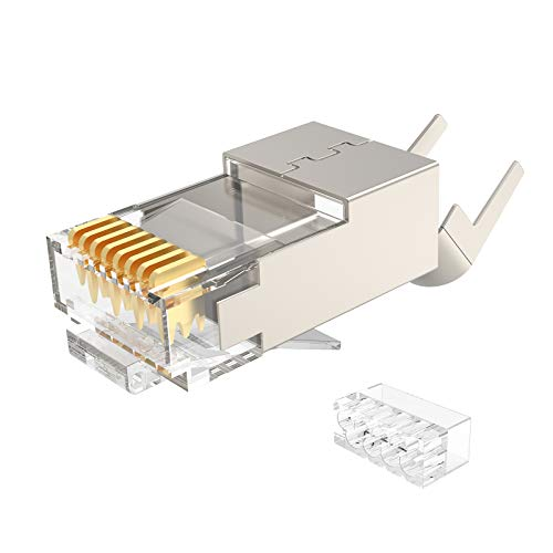 CAT7 Shielded RJ45 Connectors, Aucas Cat 7 FTP 8P8C Modular Network Plug RJ 45 Cable Crimp Pass Through Connector 50-Pack (Wire Hole 1.45mm/0.057in)