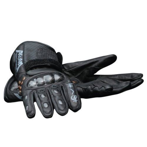 Roleff Racewear Daijiro Motorradhandschuhe Leder, Karbon-Look, Schwarz, Größe 12