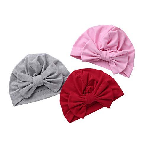 ranrann 3Pcs Bonnet Turban Nourrisson Bébé Fille Garçon Bonnet Naissance Coton Nouveau-Né Indien Bandeau Turban Noeud Bonnet Hôpital Hiver Ete Enfant Unisexe 10 Mois - 4 Ans #9 Taille Unique