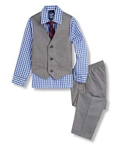 IZOD Boys' Little 4-Piece Formal Set with Shirt, Vest, Pants, and Tie, Medium Blue/Grey, 5