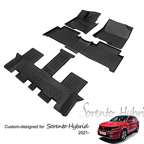 KELCSEECS Floor Mats Liner Carpet for Kia Sorento 2021 Hybrid 6 Seat 7 Seat 3 Rows Anti-Slip All Weather Guard Full Set…