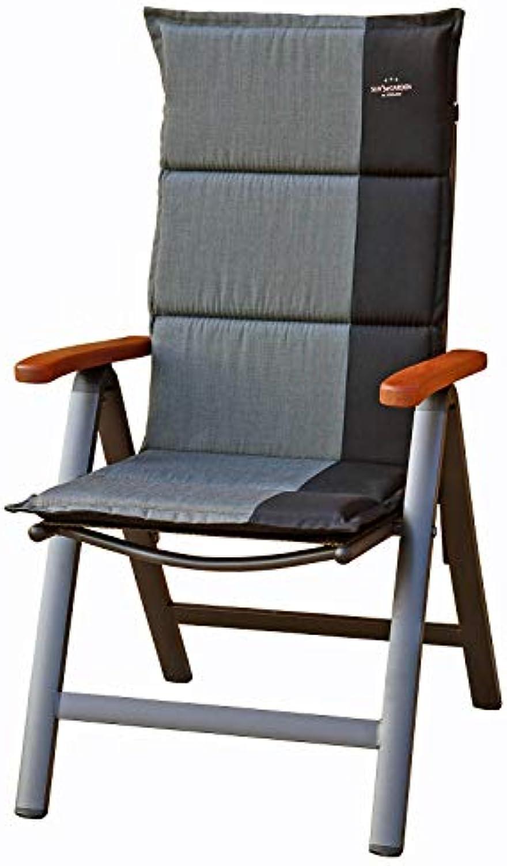 Mbeltrume ELBA Multipositionssessel mit Auflage Capri 90286-51 Hochlehner Gartenstuhl Klappsessel Klappstuhl Sessel in Silber Schwarz