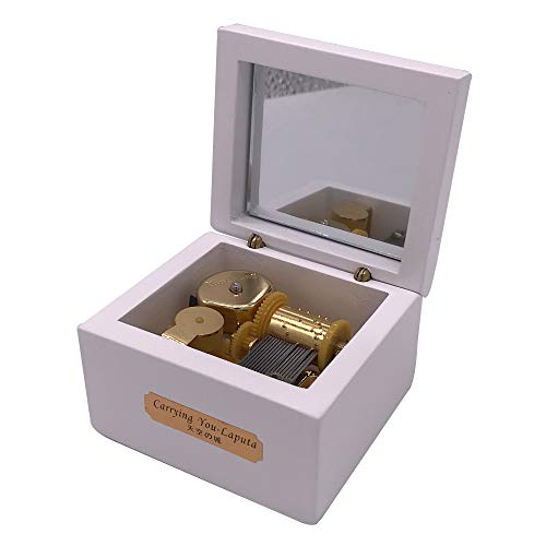 Wood Music Box,Mini Music Box with Yunsheng Movement,Play Love Story,White