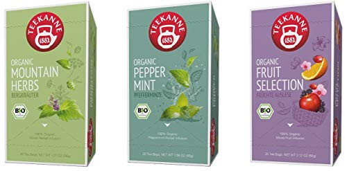 Teekanne Bio Kräutertee und Früchtetee - Bergkräuter, Pfefferminze, Fruit Selection (3 x 20 Teebeutel, 141 g)