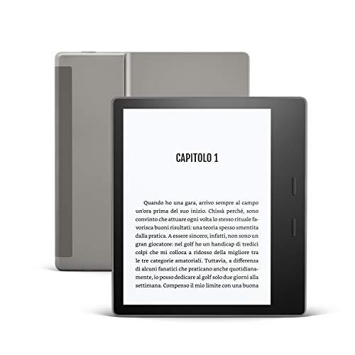 Kindle Oasis - Ora con tonalità della luce regolabile - Resistente all'acqua, 32 GB, Wi-Fi + connettività cellulare gratuita, Grafite