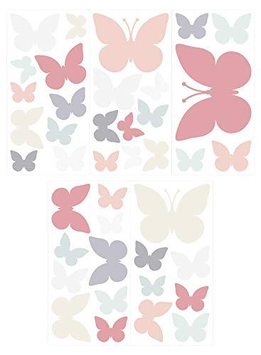 dekodino Wandtattoo Kinderzimmer Wandsticker Set Schmetterlinge in Zarten Pastellfarben