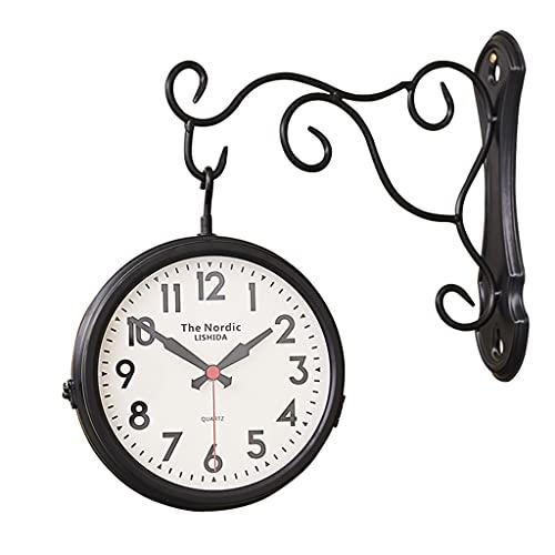 Relojes de pared Europeo de Estilo Europeo de Hierro Forjado Estilo Europeo para Sala de Estar Reloj Retro de Doble Cara (Color : Black, Size : 15 Inches)