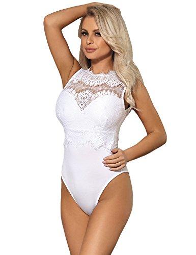 ohyeahlady Mujer Body Sexy Encaje para Fiesta de Talla Grande Lencería Bodysuit Mono Elegante (Ropa)