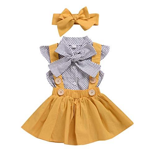 Kleinkind Baby Mädchen Polka Dot Fly Sleeve Top + Strap Rock Kleid + Bowknot Stirnband Sommer Kleidung Set, Gelb, 90 / 1-2Y