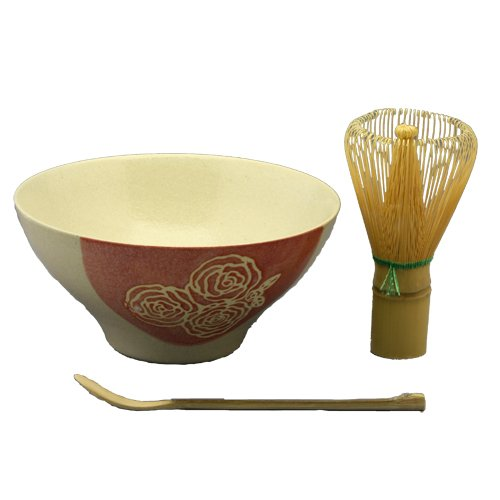 Buy Matcha set Hitotsubueri rose picture painted classification ( red ) tea bowl Chasen ( green ) te...