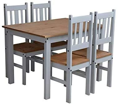 Furniture 321 Corona Dining Set with Table and 4 Chairs Pine and Grey No Delivery to Flats