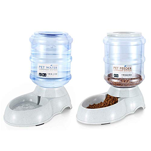 Flexzion Automatic Pet Feeder & Waterer Set of 2 Pack, Self Feeding Replenish Dog Cat Bowls, Gravity Food & Water Storage Container Fountain Jug Pet Supplies Plastic Skid Proof Rubber Feet (3 Gallon)