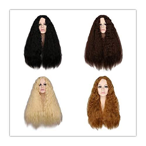 Vielfalt Diverse Mode europäischen und Mode Perücke Haar Sätze von realistischen gefälschten weiblichen heißen Mais Instant-Nudeln Volumen (Color : Golden)