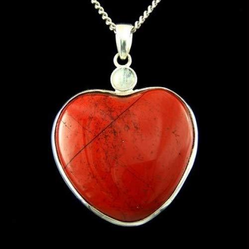Jaspe rojo dos piedra colgante de corazón