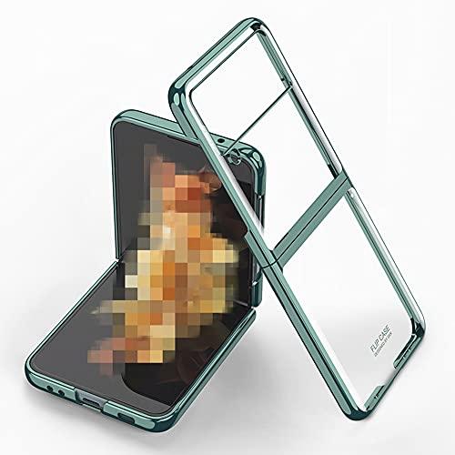 Galaxy Z Flip3 5G ケース SC-54B 背面ケース ハードケース SCG12 クリア ケース 衝撃吸収 薄 メッキ 透明背面カバー 全面保護 Galaxy Z Flip3 カバー ZFlip3-DD-20813 (グリーン)