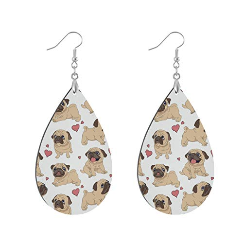 Earring for Women Waterdrop Pugs Puppies Dog Drop Dangle Earrings Boho for Teen Girls Teardrop