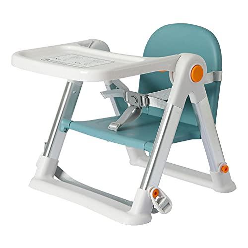 Asiento de bebé para comedor plegable portátil silla de alimentación infantil con bandeja cojín cinturón ligero y fácil de viaje (color: azul)