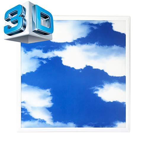 Panel LED 62 x 62 3D-SKY Plafón Slim Panel 3D efecto azul cielo con nubes blancas
