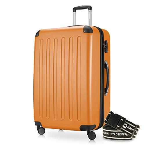 Hauptstadtkoffer - Spree Hartschalen-Koffer-XL Koffer Trolley Rollkoffer Reisekoffer Erweiterbar, 4 Rollen, TSA, 75 cm, 119 Liter, Orange +Gepäckgurt