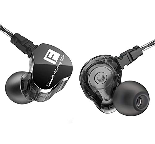 QKZ CK9 - Auriculares in-ear impermeables IPX4 (96 dB) / Hi-Res Audio Sport con micrófono HD - Double Unit Driver con subwoofer extra bajo