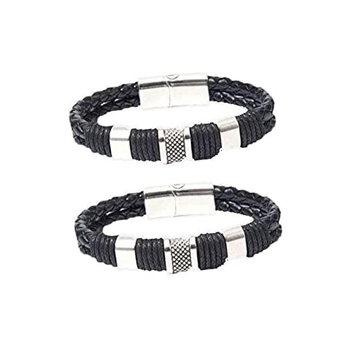 Gestreiftes Magnetisches Männlichkeits-lederarmband, Duramen Energy Resurrect Armband, Magnetisches Slim Fit Armband, Magnetfeldtherapie-körper-firming-armband, Shapeup Therapeutisches (Schwarz)