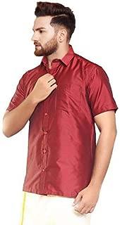 SJS-Men's Half Sleeve Solid Art Silk Shirt (Maroon, 36)