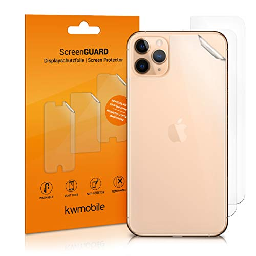 kwmobile 3X Schutzfolie Rückseite kompatibel mit Apple iPhone 11 Pro - Backcover Smartphone Folie - Handyfolie transparent