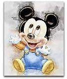 Kit de pintura de diamante 5D con estampado de acuarela de Mickey para bebé,juego de punto de cruz, mosaico, decoración artesanal para el hogar, 40x50 CM