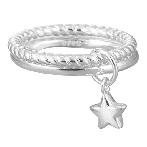 QIANDI Rings Jewellery 925 Sterling Silver Stars Pendant Double Finger Ring for Women Girl