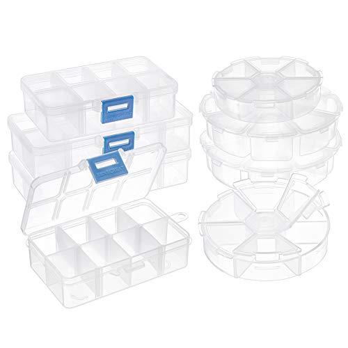 PandaHall 8 Cajas organizadoras de joyería de plástico Transparente de 4 Estilos, Incluyendo 4 Piezas, 8 Rejillas, 6 Rejillas, Redondas, 4 Piezas, 2 tamaños, 10 Rejillas, 8 cuadrículas, rectángulo