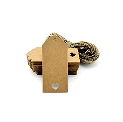 Shentian Bigliettini di carta kraft da personalizzare, con cuore ritagliato, 100 pezzi, per confetti, regali, valige, prezzi, ecc, colore: marrone