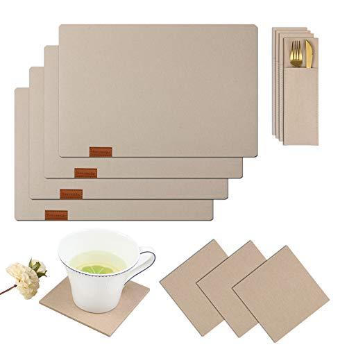 Homcomodar Filz Platzsets und Untersetzer Set abwaschbar Tischset mit Bestecksäcken 12er Set Platzdeckchen hitzebeständig in Beige