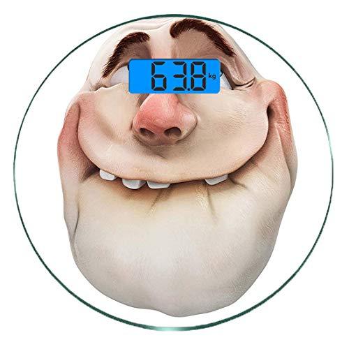 Escala digital de peso corporal de precisión Ronda Humor Báscula de baño de vidrio templado ultra delgado Mediciones de peso precisas,Comics Fun Meme Face Online Gestos de redes sociales Mocking Head
