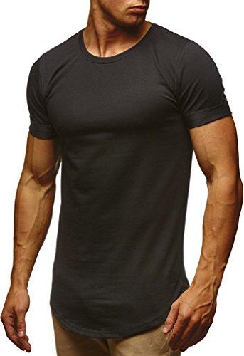 Leif Nelson Herren Sommer T-Shirt Rundhals-Ausschnitt Slim Fit Baumwolle-Anteil Moderner Männer T-Shirt Crew Neck Hoodie-Sweatshirt Kurzarm lang LN6368 Schwarz Medium