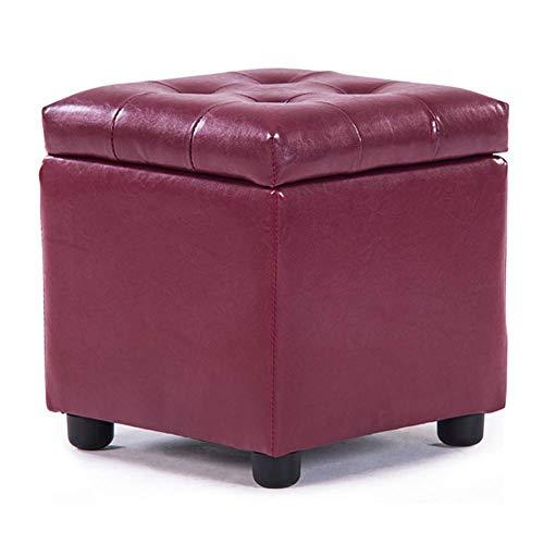MFLASMF Puf de cuero tapizado cubo otomano, puffe reposapiés de madera maciza cuadrada de cuero para sala de estar, mesa de café pequeña banco-rojo 42 x 42 x 40 cm