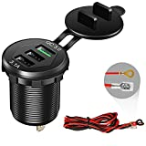 Quick Charge 3.0 Car Charger, 12V/24V 35W QC3.0/2.0 USB Charger Socket, 3 USB Charger Socket Power Outlet Fast Charge with Wire Fuse Aluminum Car Boat Marine ATV Bus Truck Golf Cart and More(Black